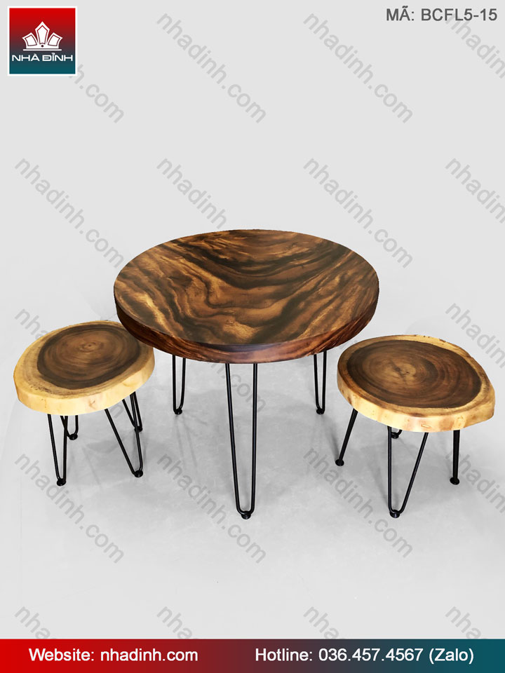 Bộ bàn cafe gỗ Me Tây ( Còng )