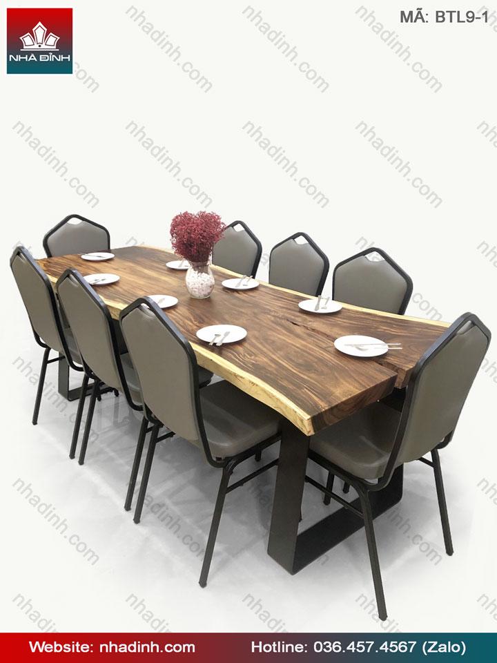 Bộ bàn ăn gỗ Me Tây nguyên tấm