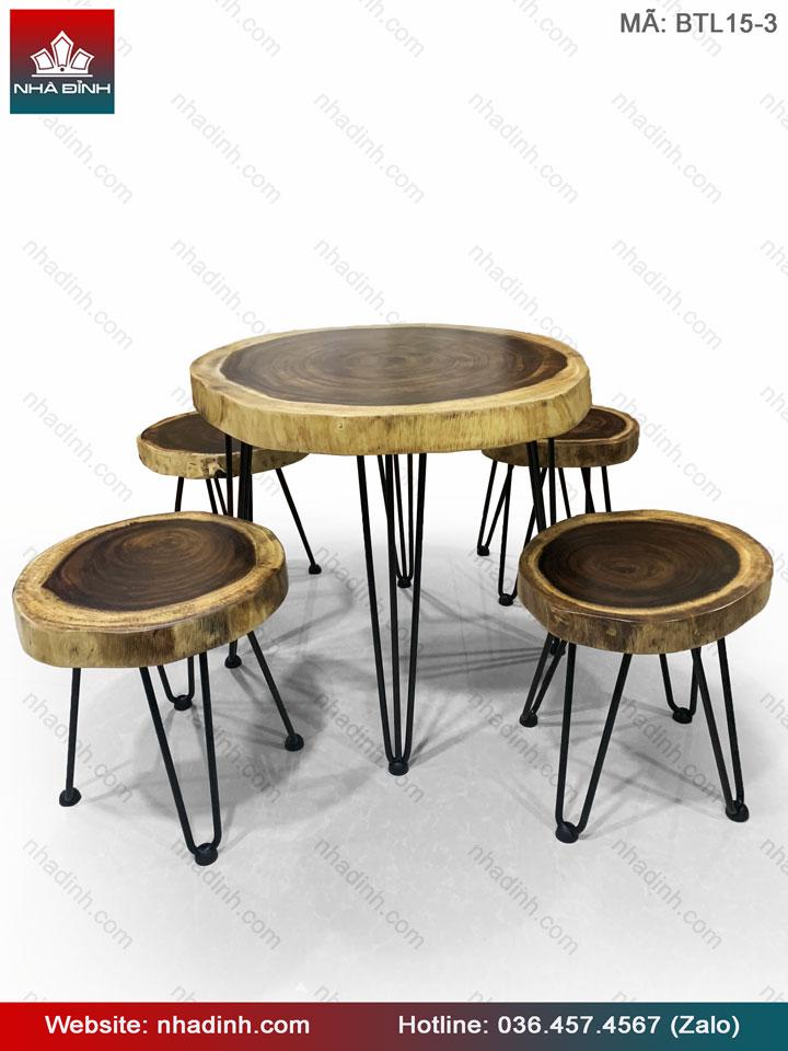Bộ bàn Trà gỗ Me Tây nguyên khối