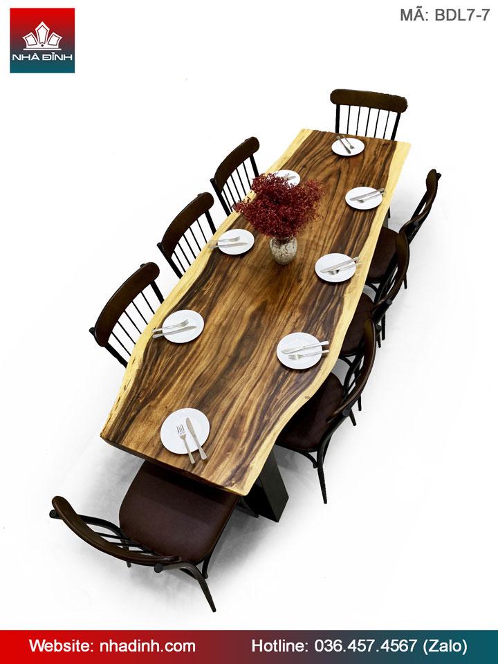 Bàn ăn gỗ Me Tây nguyên khối