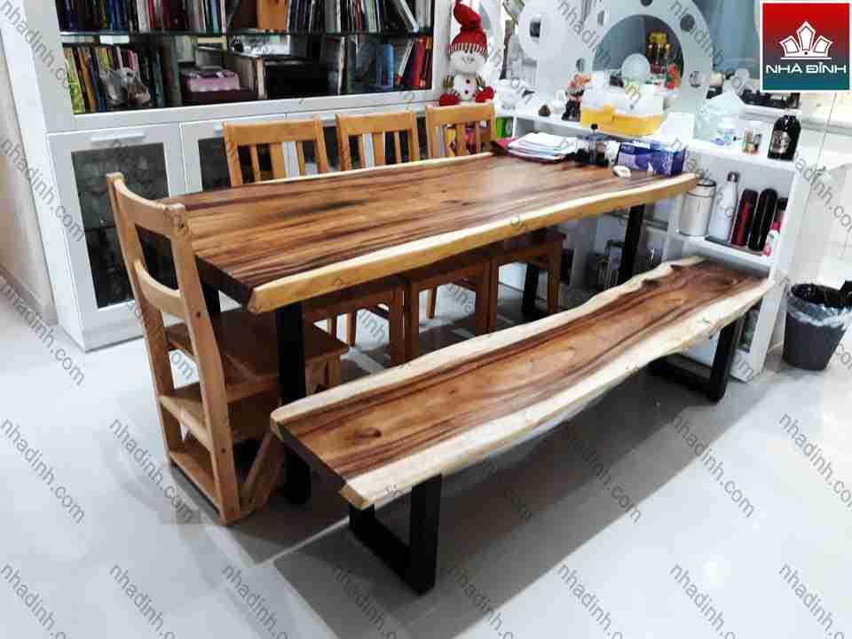 Bộ bàn ăn gỗ Me Tây gỗ nguyên khối