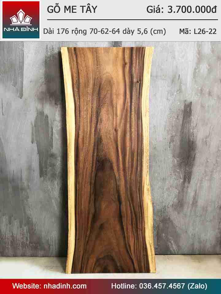 Mặt bàn gỗ Me Tây nguyên khối