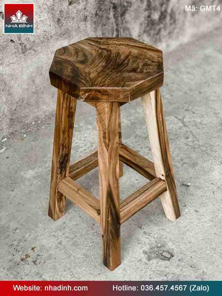 Ghế gỗ Me Tây mặt Lục Giác